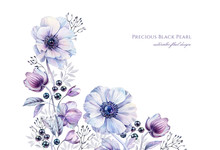 Watercolor White Anemones With Black Pearls. Hand-painted Realistic Botanical Floral Illustration. Purple Corner Border Isolated On White For Wedding Stationery Design, Card Printing, Banners