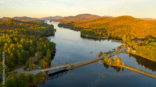 Photo Sunset over Highway 30 Crossing Long Lake at Adirondacks Park Upstate NY