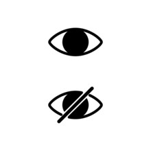 Set Of Hide Show Eye Icon Isolated On White Background. Vector Illustration.
