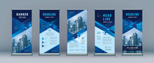 Business Roll Up Set. Standee Design. Banner Template, Abstract Geometric Diamond