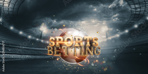 Fotografía  Gold Lettering Sports Betting Background with Soccer Ball and Stadium