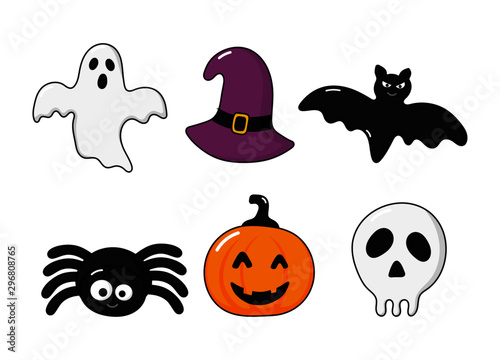 Foto op Aluminium Draw happy halloween icons set isolated on white background. vector Illustration.