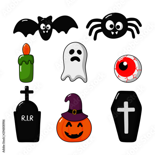 Foto op Aluminium Draw Collection of happy halloween icons set isolated on white background. vector Illustration.