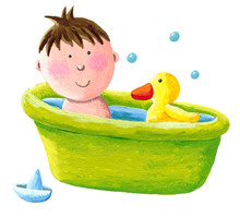 Baby Both Bath With A Yellow Rubber Duck