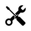 wrench and screwdriver. repair and service icon isolated on white background. vector Illustration.