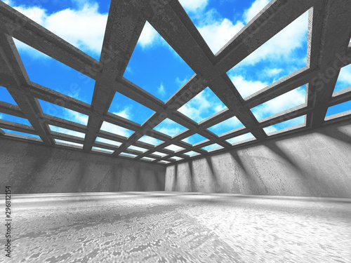 Concrete room wall construction on cloudy sky background Canvas Print