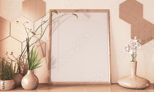 Pinturas sobre lienzo  Mock up poster frame, Hexagon tiles wooden and wooden vase decoration on floor wooden earth tone