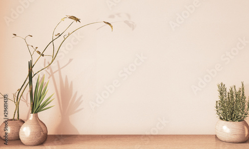 Leinwand Poster  Vase wooden decoartion design on floor wooden, earth tone