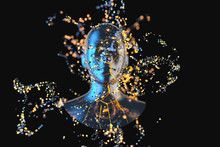 Blue Metal Human Head With Particles, 3d Rendering.