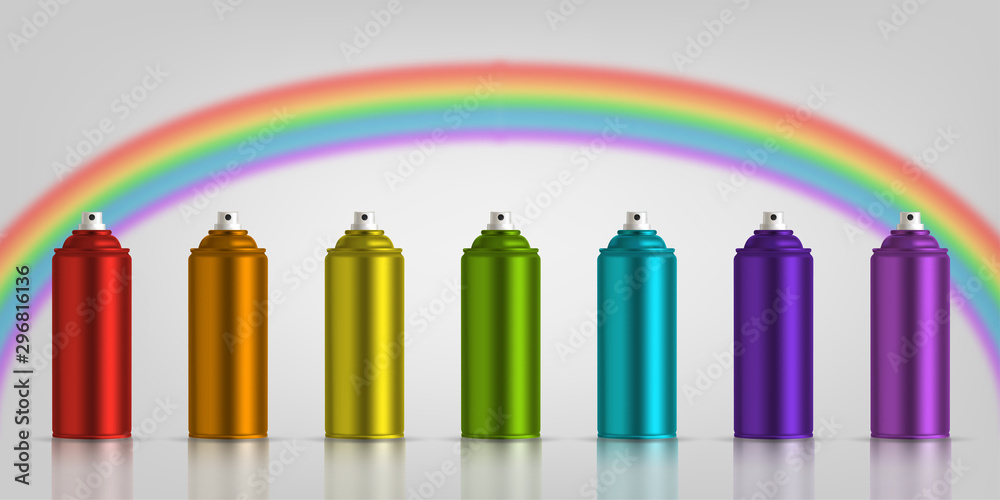 Fototapety, obrazy: Metallic cans of spray paint in various colors. Colors of rainbow. Vector illustration