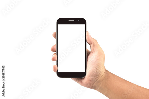 Foto  hand holding black smartphone with blank screen isolated on white