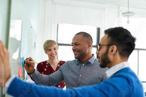 Obraz Diverse team of creative millennial coworkers in a startup brain - fototapety do salonu