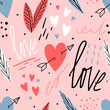 Hand drawn love seamless pattern with hearts, lettering, for print, textile, wallpaper. Modern abstract kids background.