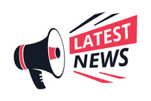 Latest News Isolated Icon, Megaphone Or Bullhorn, Breaking Report Vector. Info Announcement And TV Or Radio Broadcast