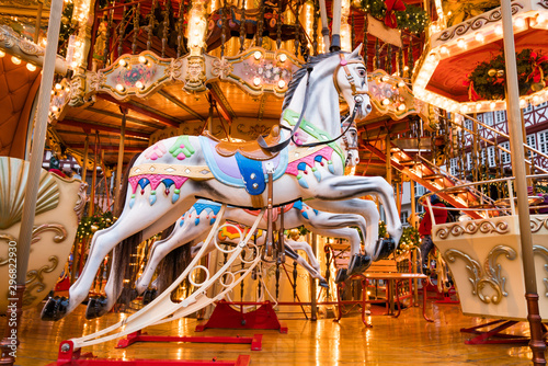Vászonkép Merry-go-round ride in amusement park