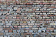 Brick wall and barbed wire. Background horizontal image, place for text.