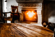 canvas print picture - Wooden top with empty space for advertising products with blurred fireplace background in a cozy home interior.