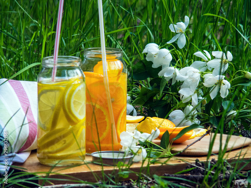Fototapety, obrazy: Picnic in the meadow. Cool citrus drinks are pleasant on a hot day
