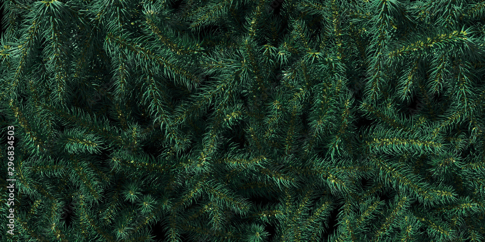 Fototapety, obrazy: Background of Christmas tree branches. Happy New Year green theme background. 3d rendering.