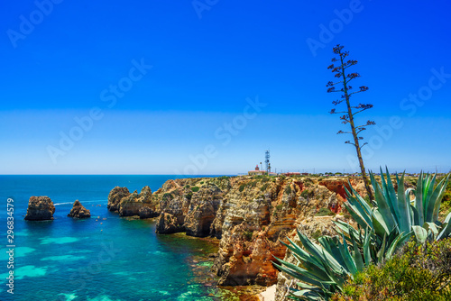 View on rocks called Farol da Ponta da Piedade - coast of Portugal, Algarve Fototapeta