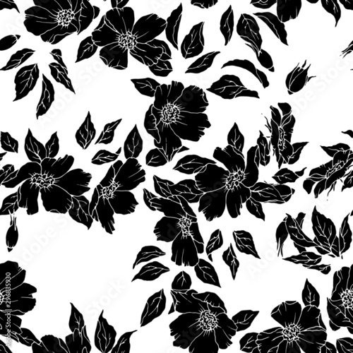 Seamless pattern with flowers and leaves in monochrome colors