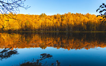 Wide Angel Shot Of Lake With Bright Vibrant Fall Autumn Foliage And Reflections With Buoy On A Sunny Evening