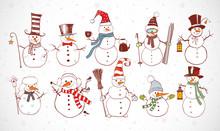 Set Of Doodle Sketch Snowmen