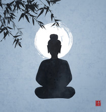 Silhouette Of Buddha Sitting Under The Bamboo Tree And The Moon On Blue Night Sky Background. Traditional Oriental Ink Painting Sumi-e, U-sin, Go-hua. Hieroglyph - Clarity.