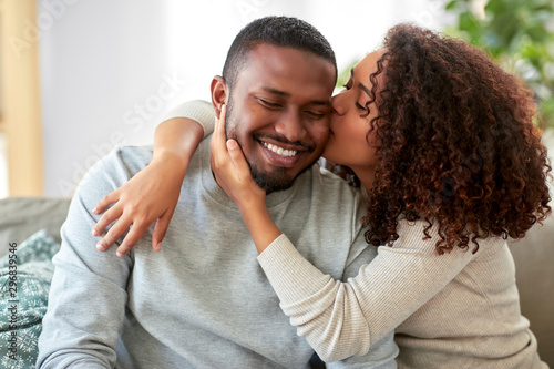 Canvas Print love, valentines day and relationships concept - happy african american couple s