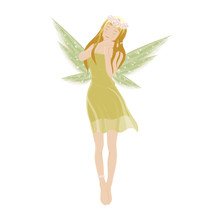Illustration Of A Cute Green Fairy Flying With Beautiful Wings, Vector Cartoon For Bed Time Story Elements