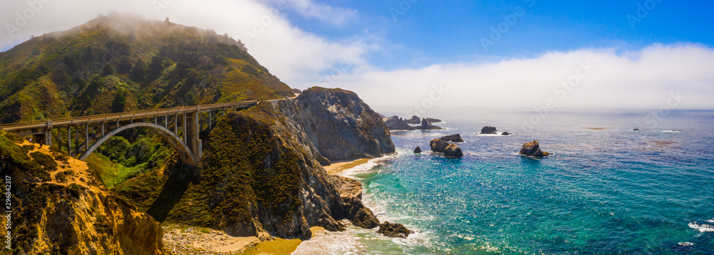 Fototapety, obrazy: Arial view of the California Bixby bridge in Big Sur in the Monterey County along side State Route 1 US, the ocean road.