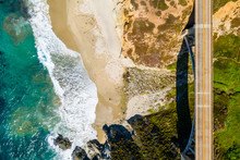 Arial View Of The California Bixby Bridge In Big Sur In The Monterey County Along Side State Route 1 US, The Ocean Road.