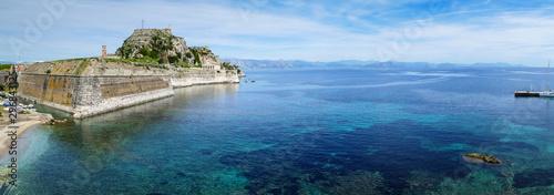 Beautiful seascape to the Old Venetian Fortress in Kerkyra city, Corfu island, G Fotobehang
