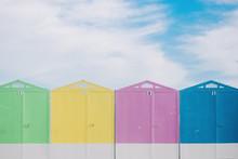Row Of Colorful Beach Huts