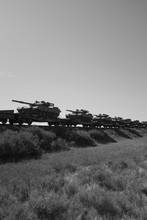 Military Tanks Carried On Rail...