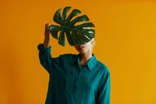Women Holds A Monstera Leaf In...