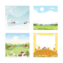 Set Landscape Natural Backgrounds Of Four Seasons. Winter Wonderland, Spring Farm Land, Sunny Day Wild Flowers Fields On Summer, Autumn With Leaves Falling.Set Cartoon Flat Design 4 Seasons Concept