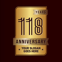 118 Years Anniversary Design Template. One Hundred And Eighteen Years Celebration Logo. Vector And Illustration.