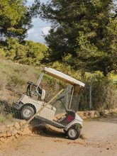 Golf Cart Crashed Into Fence