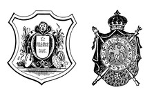 Coat Of Arms Or The French Republic And Imperial Arms, Vintage Engraving.