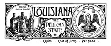 The State Banner Of Louisiana The Pelican State Vintage Illustration