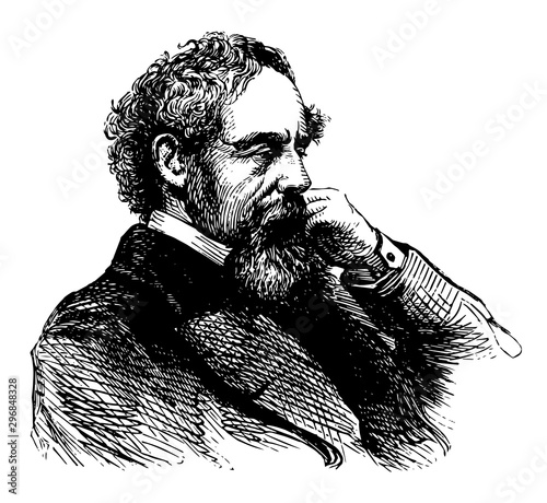 Obraz Charles Dickens, vintage illustration - fototapety do salonu