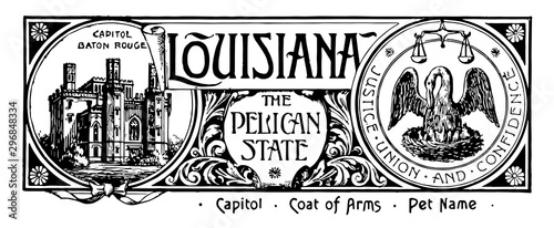 Stampa su Tela The state banner of Louisiana the pelican state vintage illustration