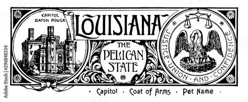 Obraz na plátně The state banner of Louisiana the pelican state vintage illustration
