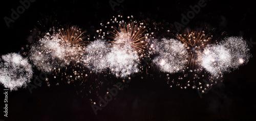 Fireworks background, Festival anniversary, New Year Christmas show Fototapeta