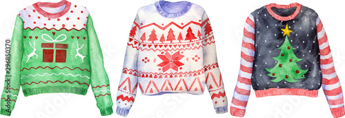 фотография Watercolor hand drawn ugly Christmas sweaters on isolated background