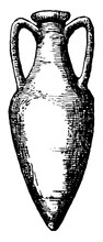 Amphora Is A Jar With Two Handles A Narrow Neck Vintage Engraving.