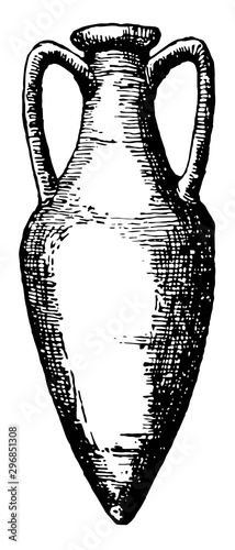 Photo Amphora is a jar with two handles a narrow neck vintage engraving