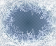 Frost glass pattern. Winter frame on transparent background. Vector christmas illustration