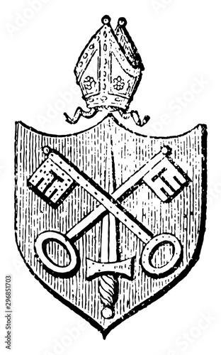 Photo Bishopric rank or office of being a bishop vintage engraving.